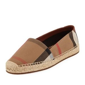 NEW IN BOX Burberry Hodgeson Check Jute Espadrille
